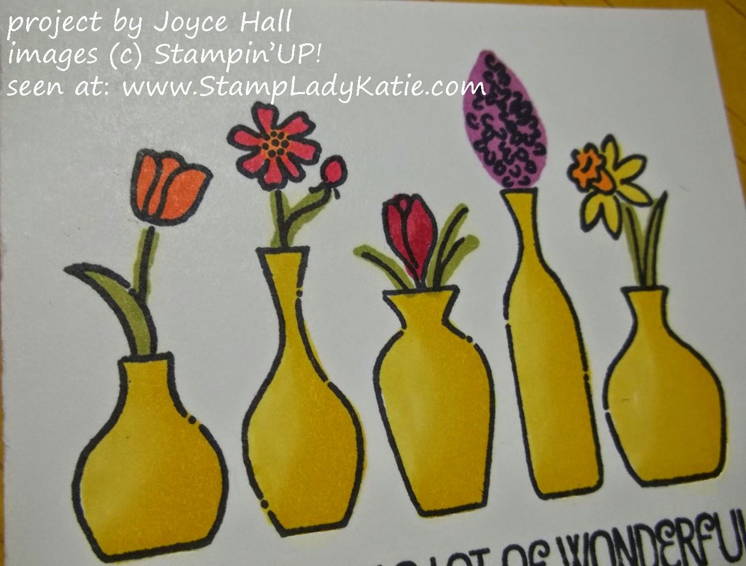 Stampin'UP!'s Vivid Vases Stamp and colored with the Blendabilities alcohol markers