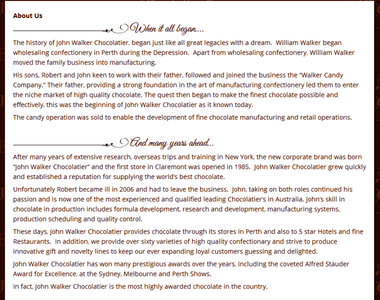 trusted chocolatier in Perth