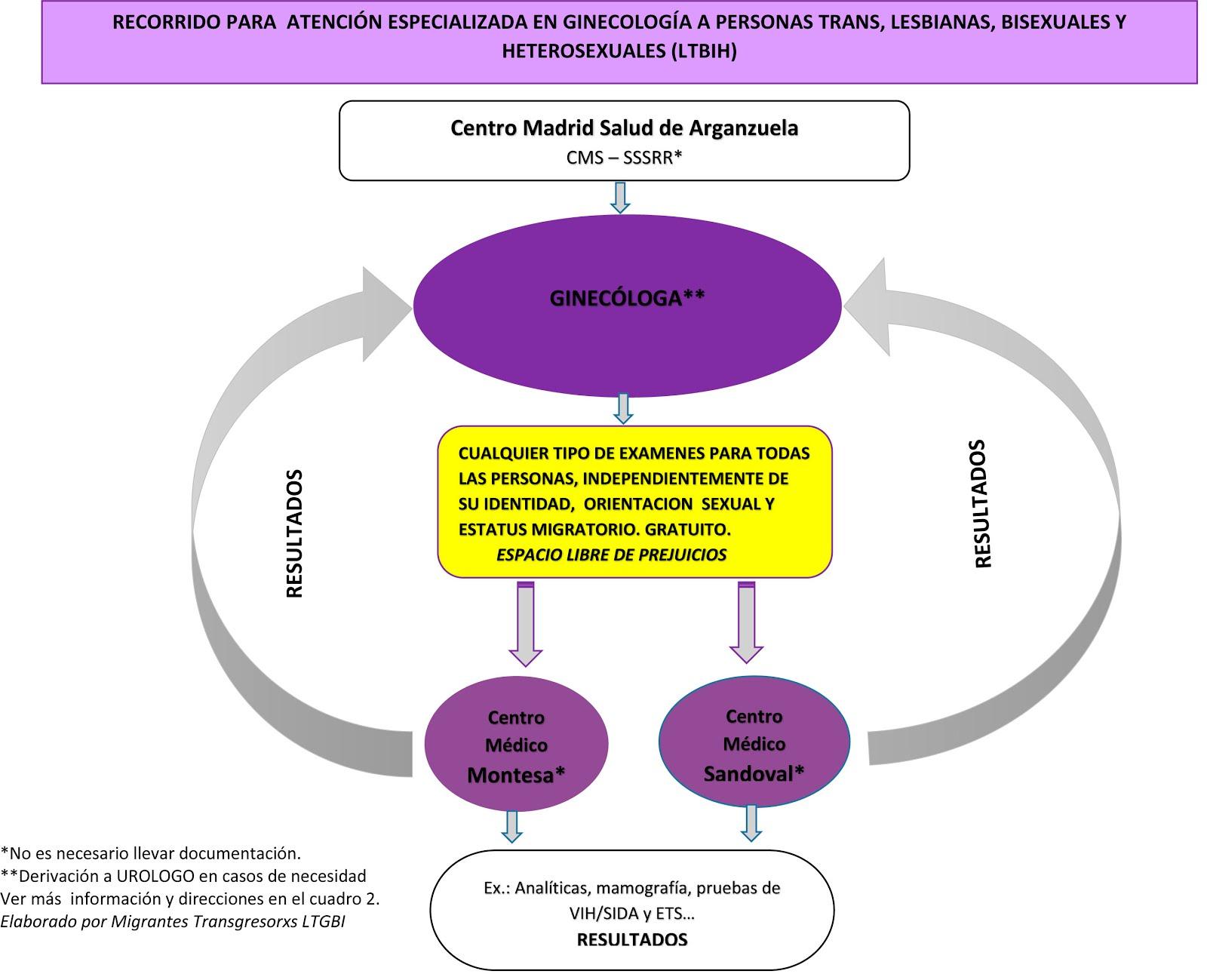 Recorrido de acceso en Salud Sexual LTGB_ mujeres lesbianas, transexuales, gays - LTGBI. Madrid