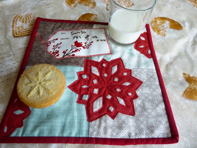 Mug rug for Santa with applique snowflake by fabricandflowers | Sonia Spence