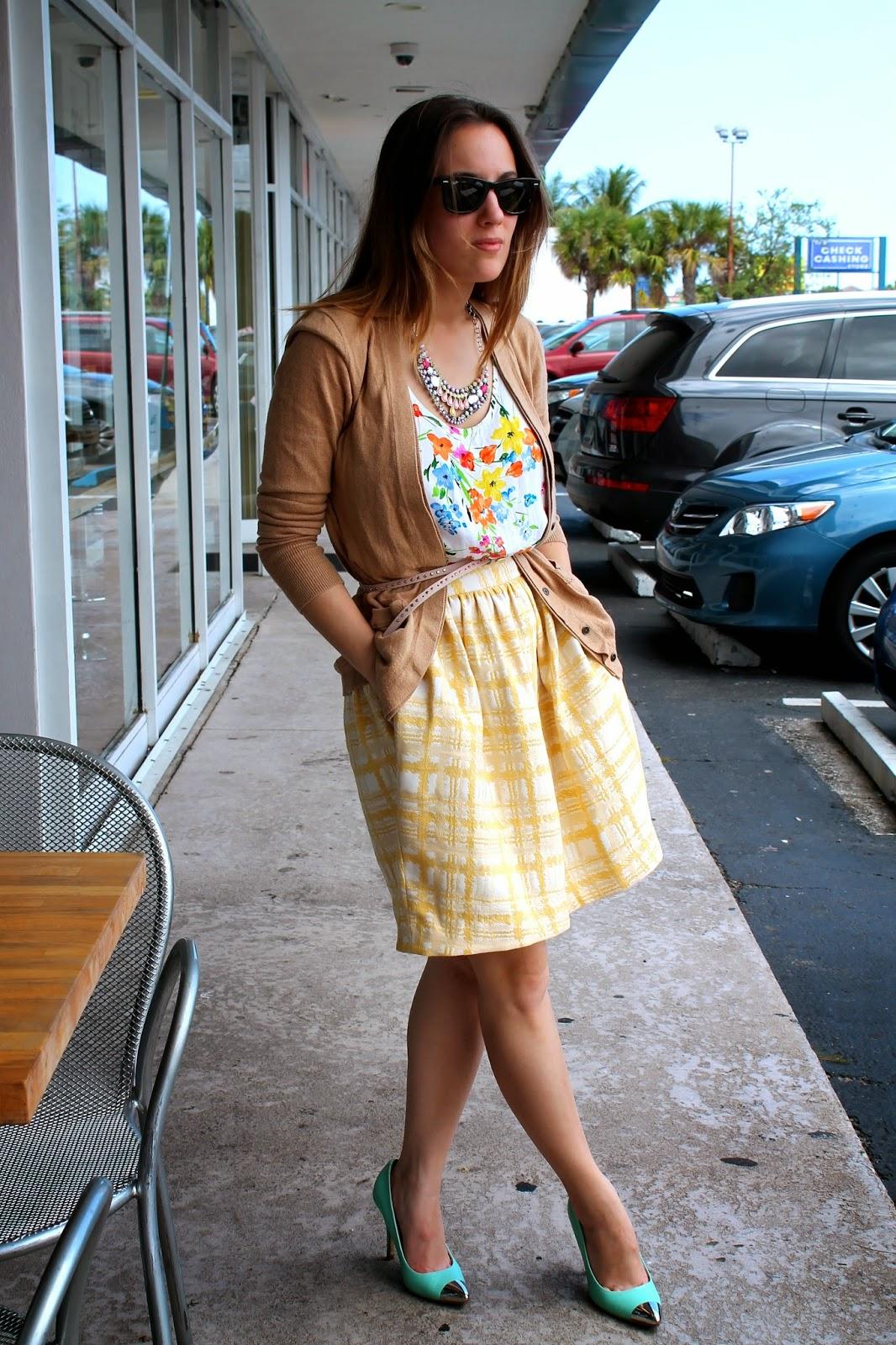 J.Crew, Nordstrom, Forever 21, LOFT, prep, fashion, what i wore, ootd, feminine, romantic, floral, plaid, Miami, Miami fashion