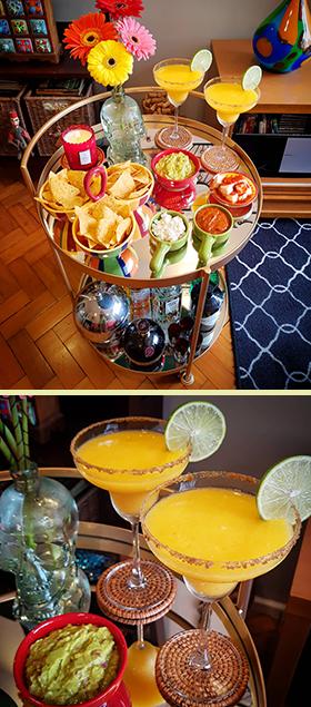 A Happy Hour Mexicana no carrinho de bebidas