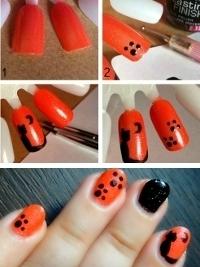 nails Tutorial Decoração de Unhas Gato e patas Halloween 2013