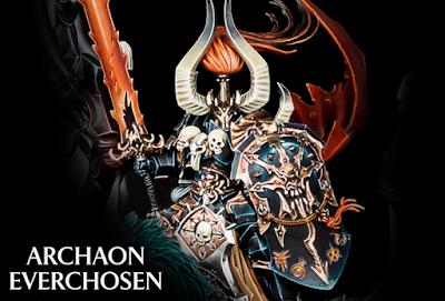 Detalle de Archaon blandiendo a Maarreyes y su escudo rúnico del Caos