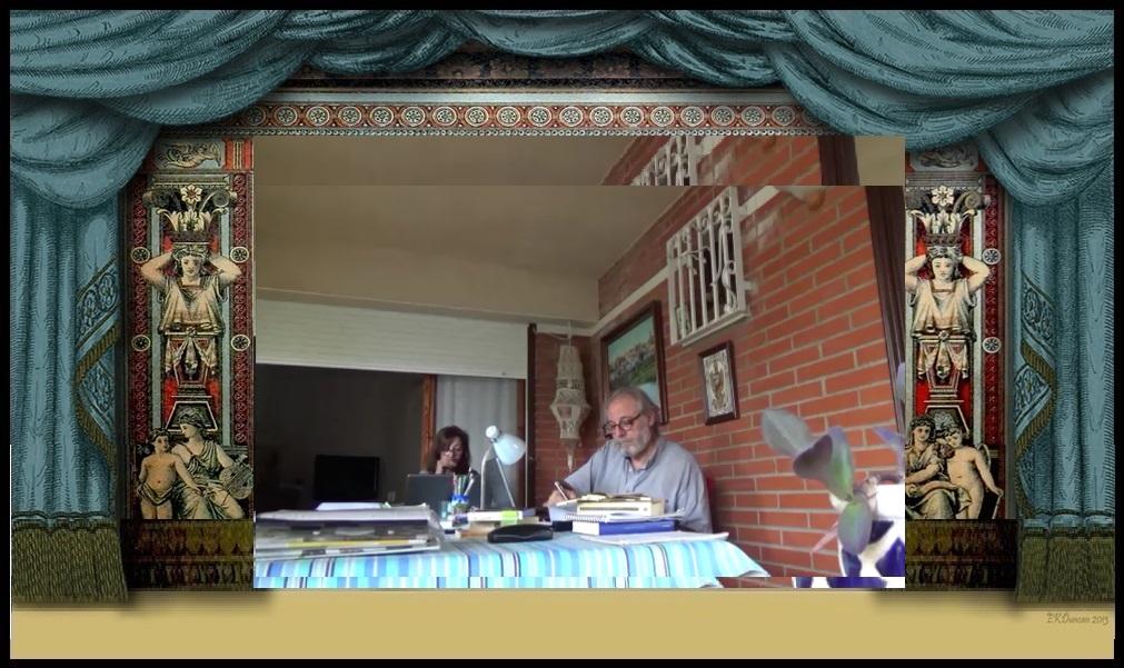 """Francisco Ariza y Mª Ángeles Díaz, preparando un vídeo para """"La Memoria de Calíope."""