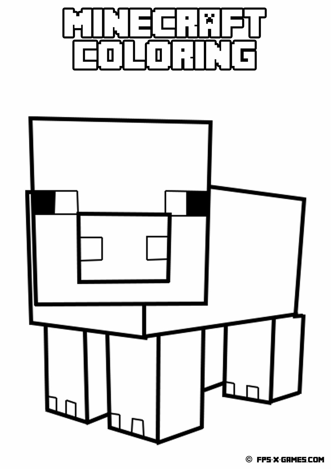 printable minecraft coloring pig