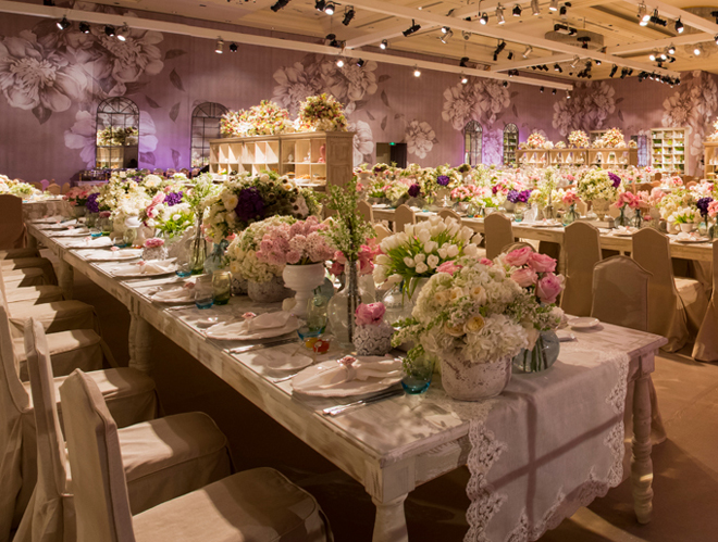 Wedding reception decoration long tables belle the for Table design for wedding
