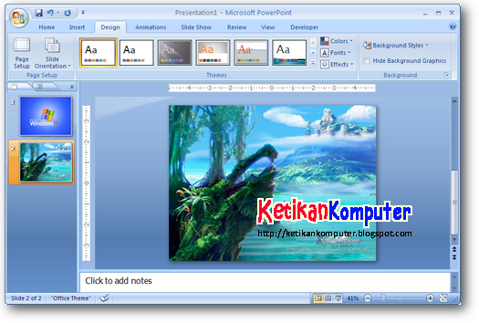 menambahkan gambar background slide power point