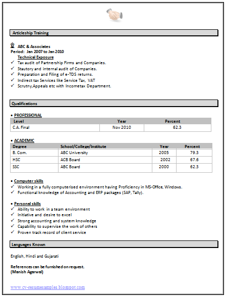 resume articleship ca firm