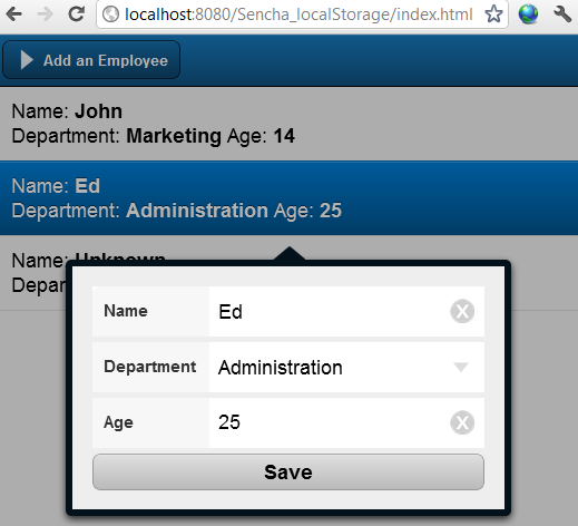 Sencha touch local storage example