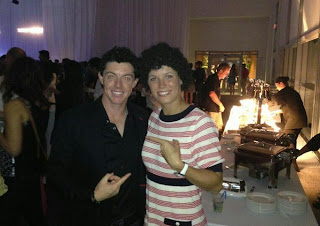 Rory McIlroy and Caroline Wozniacki goofing around in Miami
