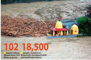 Debris carried by floodwaters of Alaknanda crashes against at temple in chamoli district Uttarakhand