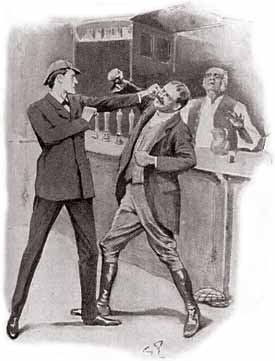 Sherlock Holmes Delivers A Knock Out Blow In This Illustration From The Solitary Cyclist By Sidney Paget