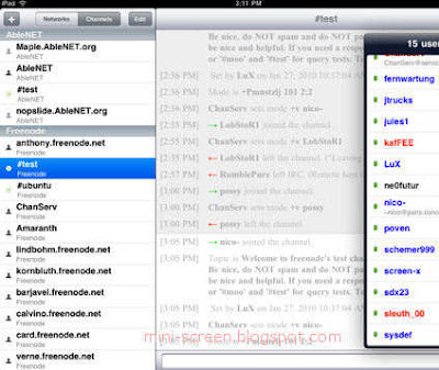 Linkinus IRC Client App Interface on iPad