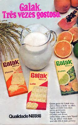 propaganda chocolate galak - 1974. os anos 70; propaganda na década de 70; Brazil in the 70s, história anos 70; Oswaldo Hernandez;