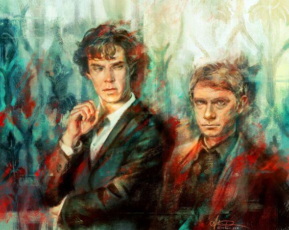 Alice X. Zhang alicexz deviantart pinturas de filmes séries Sherlock (Benedict Cumberbatch) e Watson (Martin Freeman)