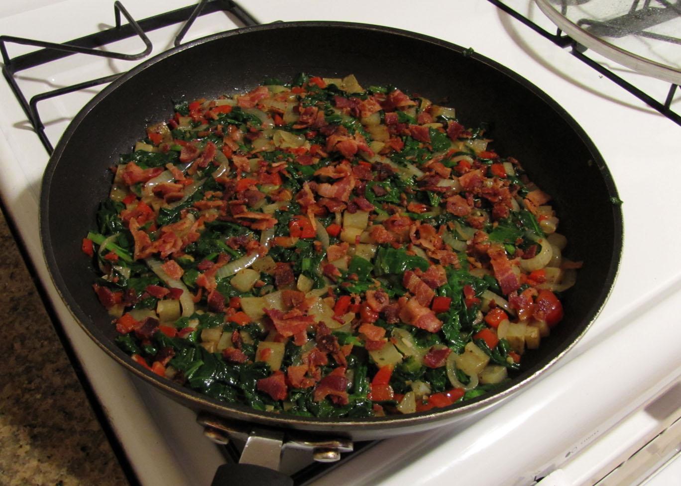 Gently press vegetables over bottom of skillet; sprinkle with bacon ...