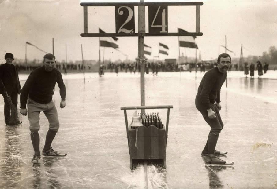 Carrera patines sobre hielo 1914