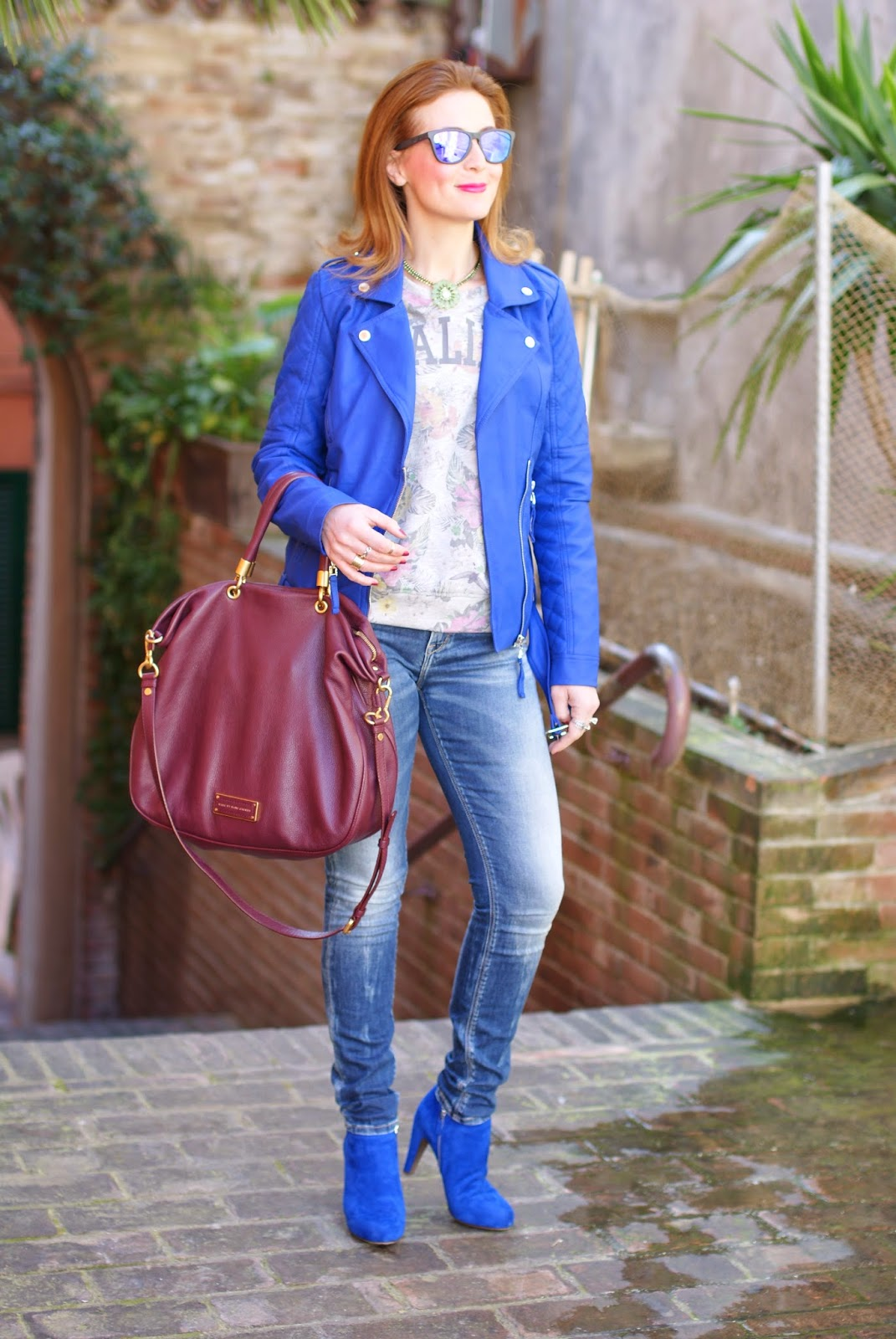 Morgan blue biker jacket, Sodini bijoux collana, See by Chloé blue ankle boots, Fashion and Cookies, fashion blogger