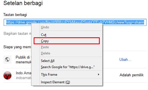 Setelan Berbagi Google Drive