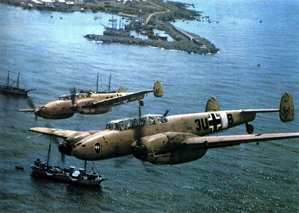 Messerschmitt Bf 110s over the North African coast