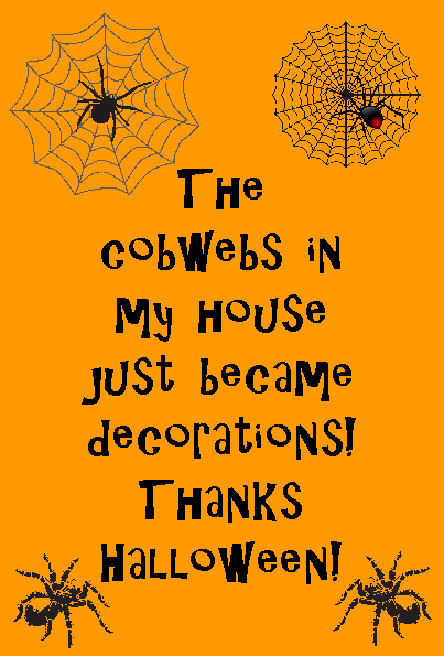 Halloween quote spider web poster