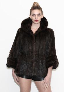 Vintage 1960's dark brown mink coat with large collar and bracelet sleeves