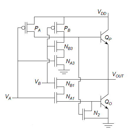 Signals and Systems: Working of BICMOS NAND GATE on logic gate schematic, bandpass filter schematic, oscillator schematic, diode schematic, op-amp schematic, noise gate schematic, full adder schematic, balun schematic, nor gate schematic, receiver schematic, nand logic, capacitor schematic, nand layout, latch schematic, and gate schematic, led schematic, diplexer schematic, not gate schematic, cmos schematic, analog delay schematic,