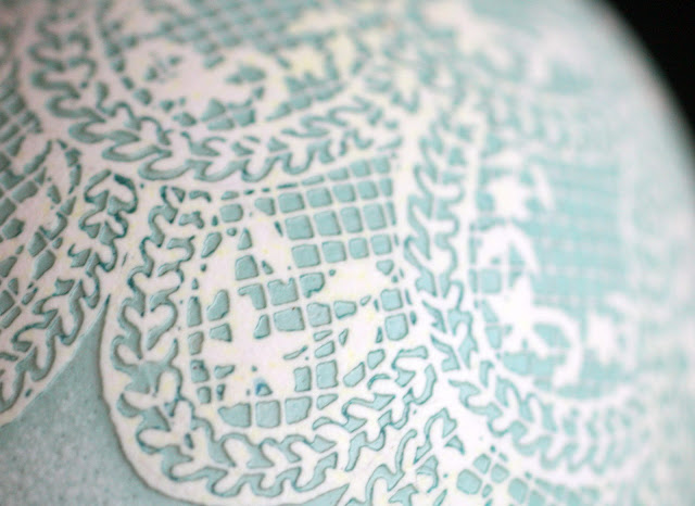 Batik Egg Art Geometric Lace Design in White and Robin's Egg blue by Katy David