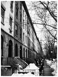 A typical street full of snow in New York City