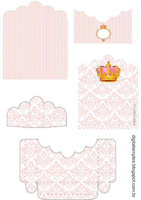 Pink and Gold Crown: Free Printable Candy Package Support.