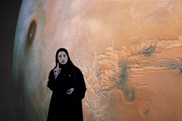 Sarah Amiri, deputy project manager and science lead of the UAE mission to Mars, addresses the ceremony that unveiled the program details on Wednesday in Dubai. Credit: Kamran Jebreili / AP Photo