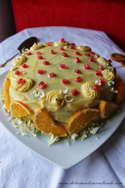 torta alla crema d'arancia con melograno...auguri papà!