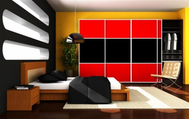 Large Colorful Bedroom Wardrobe Design