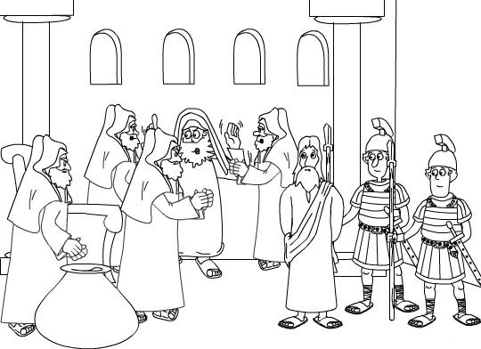 Dibujos para colorear Jesús ante Sanedrín