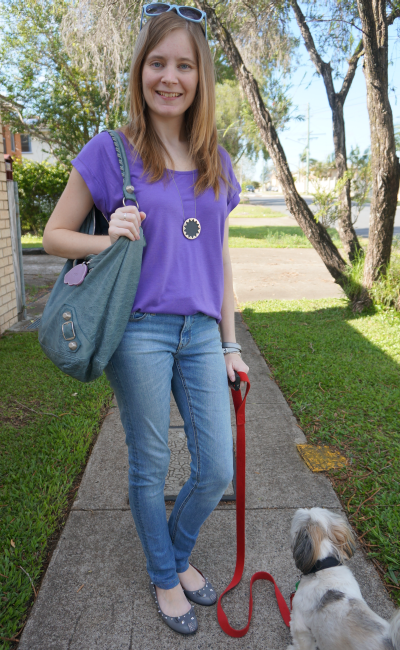 Casual friday purple tee jeans balenciaga tempete stromy grey blue day bal bag