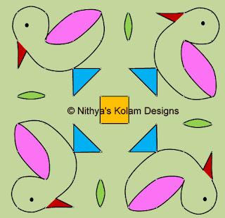 Kolam 88: Duck Kolam 8 by 8 dots