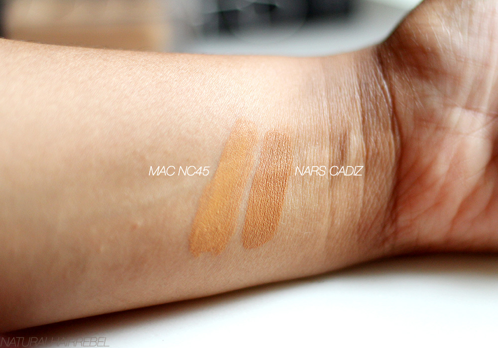 Nars Luminous Weightless Foundation - skin comparison of MAC NC45 vs. Nars Cadiz via NaturalHairRebel.com