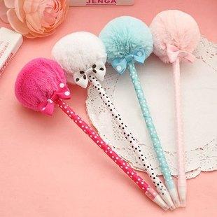 かわいい☆shop--open Pen+-+Furry+ball+with+ribbon