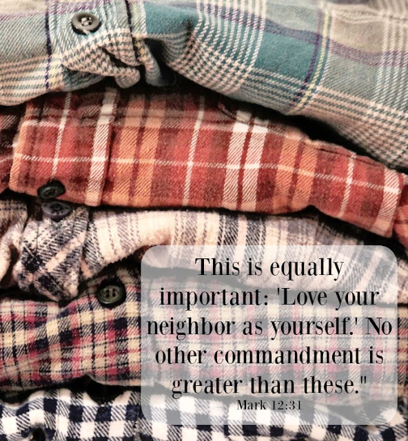 god's word, inspiring verse, bible verse, love one another, commandment, flannel shirt, cozy,http://bec4-beyondthepicketfence.blogspot.com/2015/12/sunday-verses_27.html