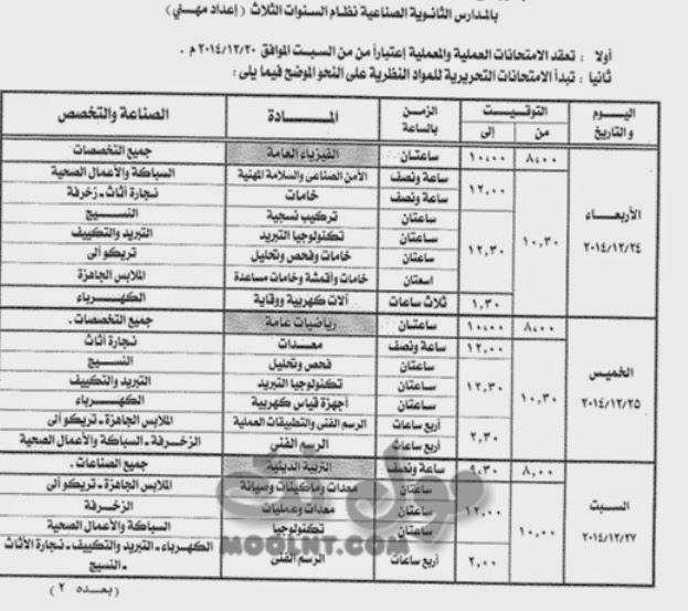 جدول امتحانات 2 ثانوي صنايع الفصل الاول 2015 بالقليوبية ثاني ثانوي صناعي