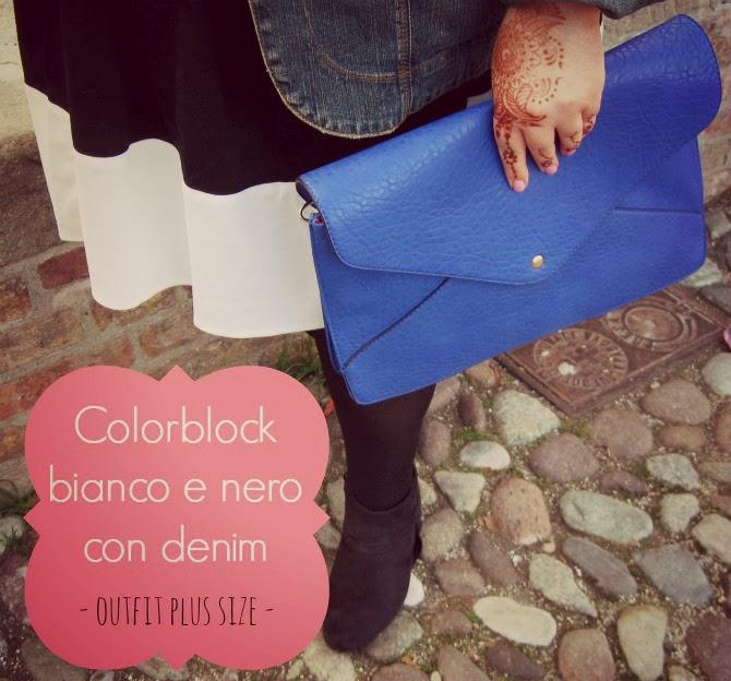 colorblock bianco e nero con denim