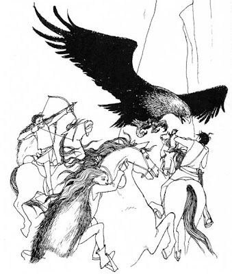 Drawing of an eagle attacking a group of riders on horseback
