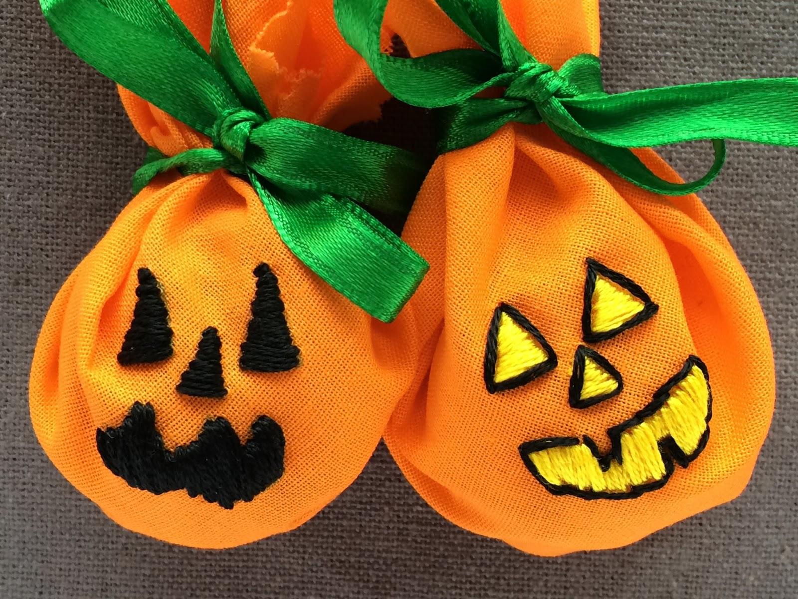 embroidered halloween pumpkin lollipop covers