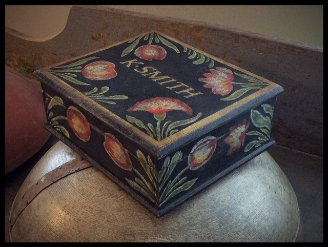 PAINT DECORATED FLORAL LIDDED BOX