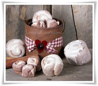 Rusty Tin Bucket of Buns and Heart Primitive Gift