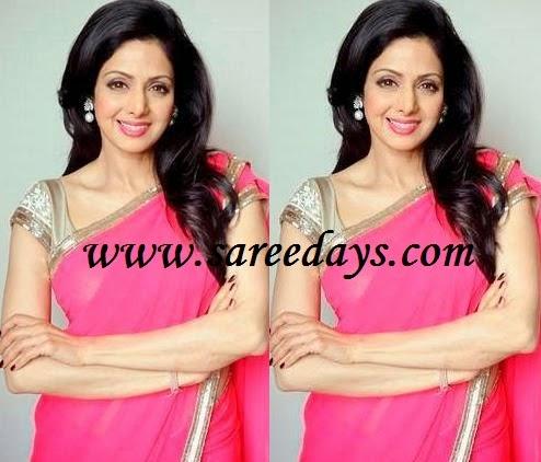 Latest saree designs sridevi in designer pink saree checkout sridevi in designer pink saree with gold border and paired with contrast gold mega sleeves designer blouse altavistaventures Image collections