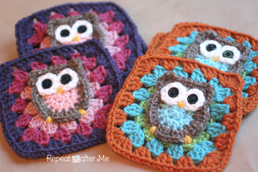 Crochet Granny Square Pattern : Owl Granny Square Crochet Pattern - Repeat Crafter Me