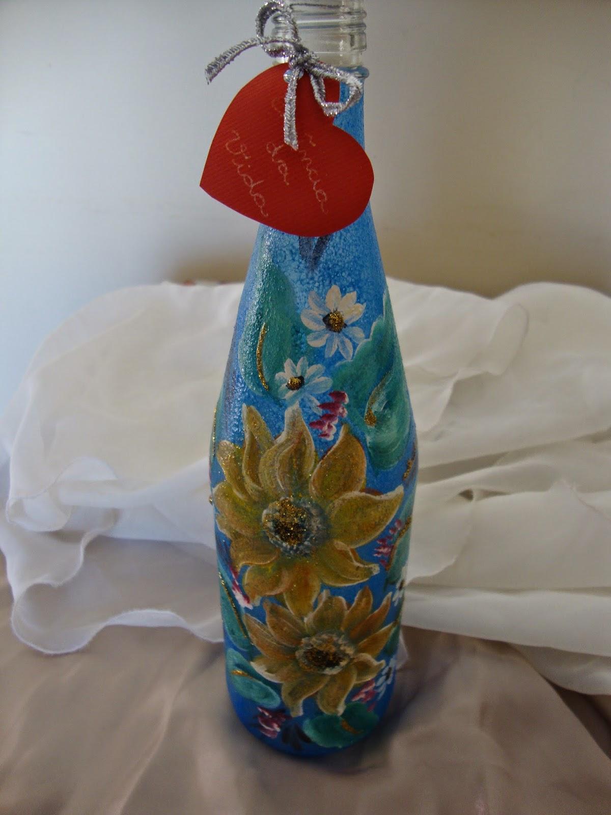 garrafa de vidro fosqueada com jateado colorido da Glitter e pintada
