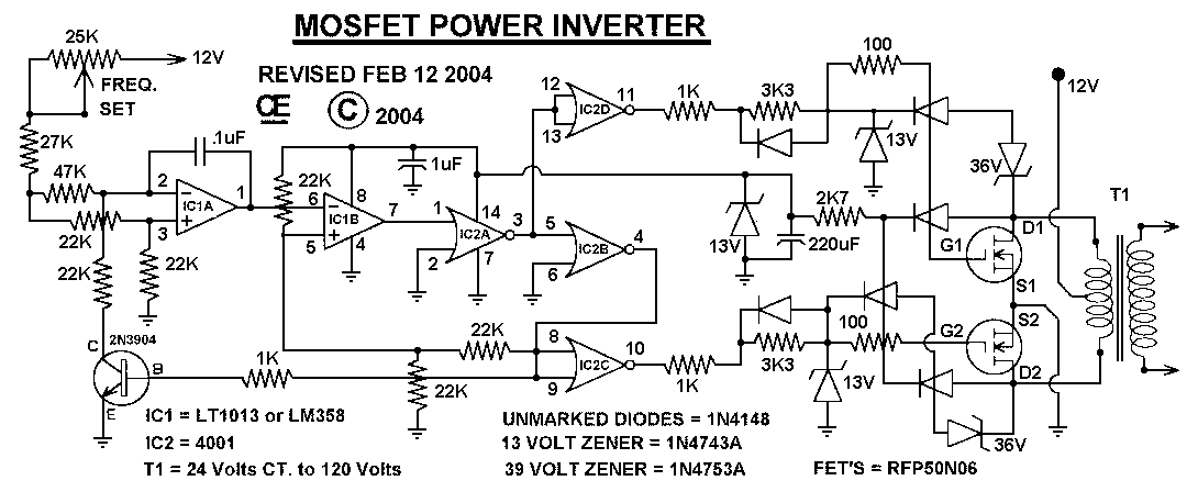 1000w mosfet power inverter circuit electronic circuit